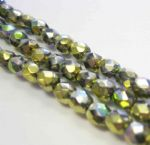 Czech Fire Polished Beads - 4mm - Crystal California Green (50)